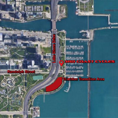 Map of 3rd Coast Cycles at the Chicago Triathlon